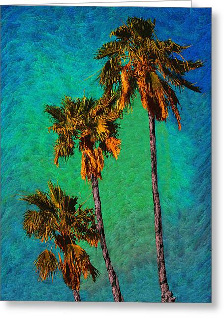Tres Palmeras Greeting Card by Paul Wear