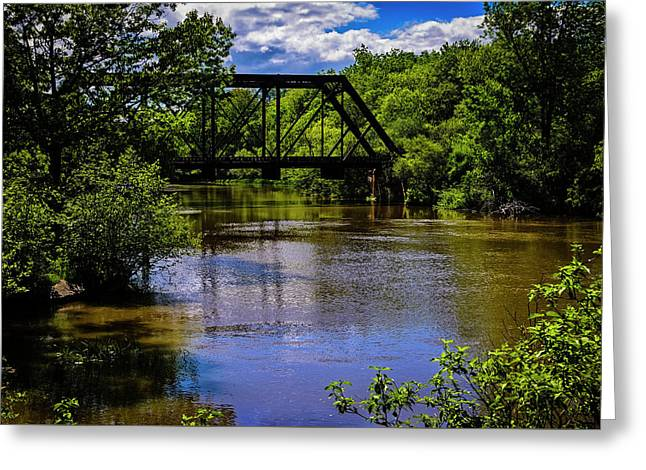 Greeting Card featuring the photograph Trestle Over River by Mark Myhaver