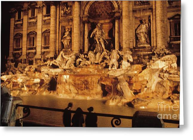 Greeting Card featuring the photograph Trevi At Night by Donald Paczynski