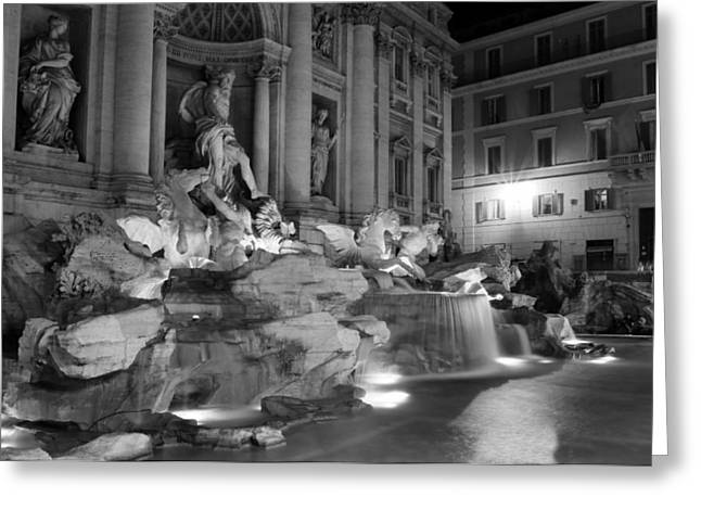 Trevi Fountain Night 2 Greeting Card by Andrew Fare