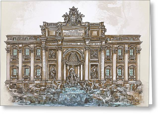 Greeting Card featuring the painting  Trevi Fountain,rome  by Andrzej Szczerski