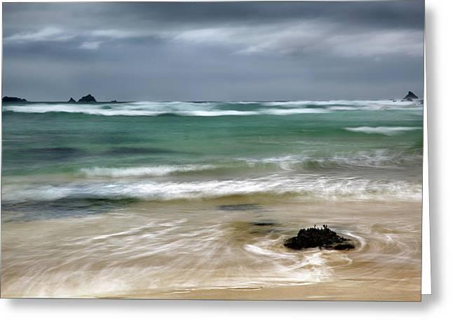 Treyarnon Bay,  Cornwall, Uk, 2 Greeting Card by Maggie McCall