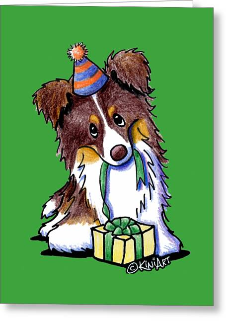 Tri Chocolate Border Collie Greeting Card