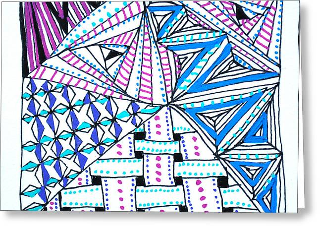 Triangle Tangle Greeting Card by Carole Brecht