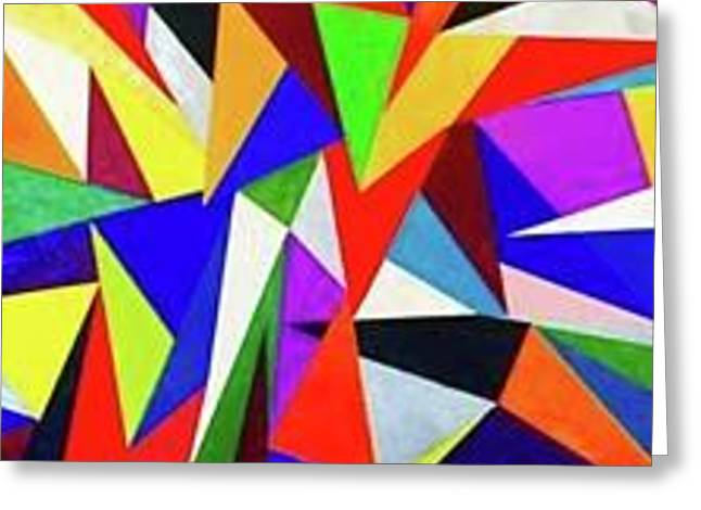 Triangles In Color Greeting Card by Sheridee Hopper