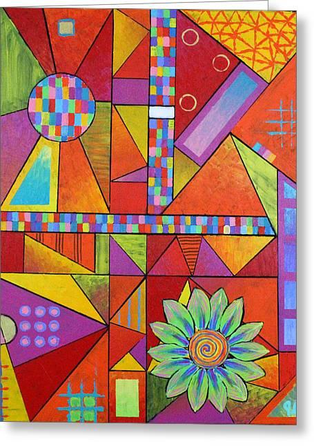 Triangular And Pixelated Greeting Card by Jeremy Aiyadurai