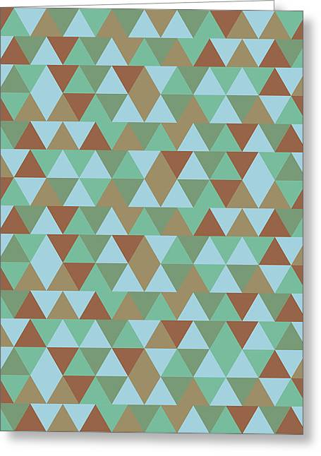 Triangular Geometric Pattern - Blue Green Brown Greeting Card