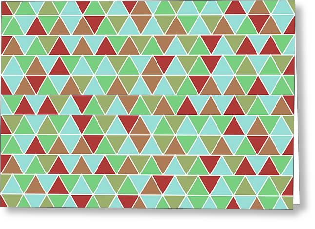 Triangular Geometric Pattern - Blue, Green, Maroon, Brown Greeting Card