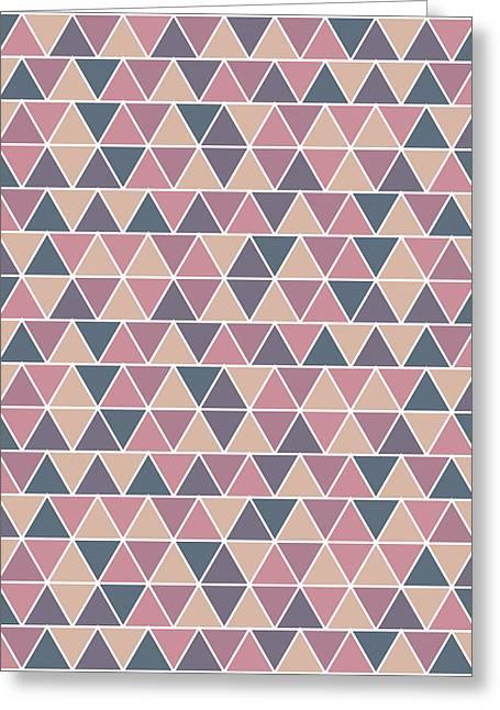 Triangular Geometric Pattern - Warm Colors 01 Greeting Card