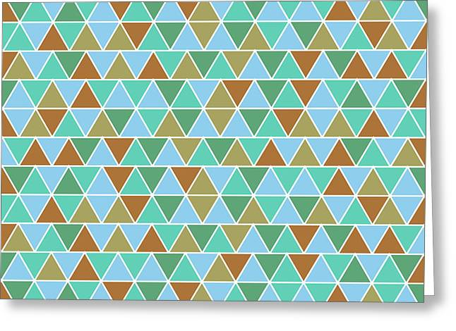 Triangular Geometric Pattern - Warm Colors 02 Greeting Card