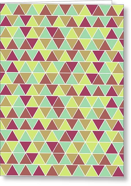 Triangular Geometric Pattern - Warm Colors 03 Greeting Card