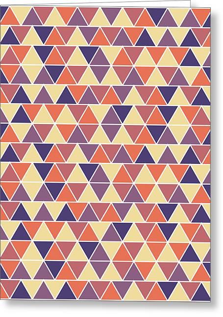 Triangular Geometric Pattern - Warm Colors 04 Greeting Card