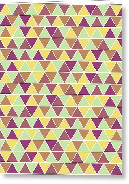 Triangular Geometric Pattern - Warm Colors 05 Greeting Card