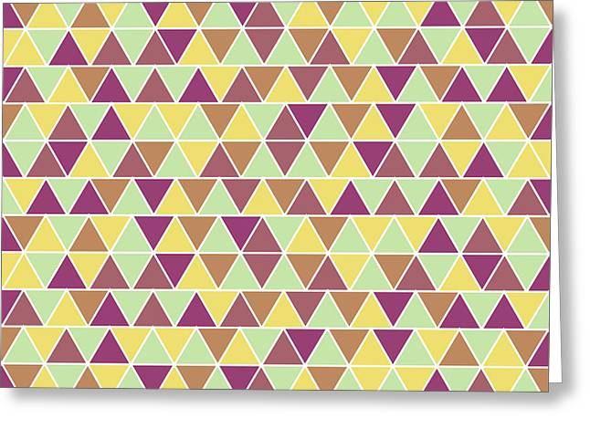 Triangular Geometric Pattern - Warm Colors 05 Greeting Card