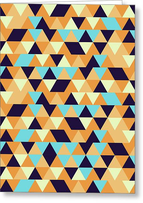 Triangular Geometric Pattern - Warm Colors 06 Greeting Card