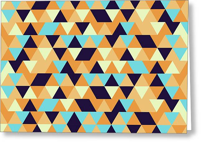 Triangular Geometric Pattern - Warm Colors 06 Greeting Card