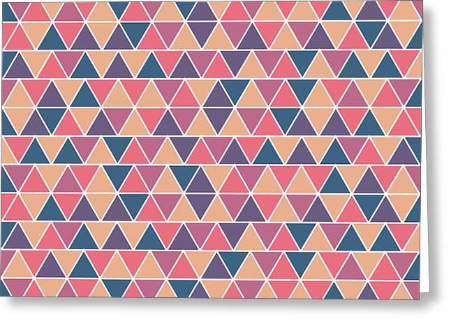 Triangular Geometric Pattern - Warm Colors 07 Greeting Card