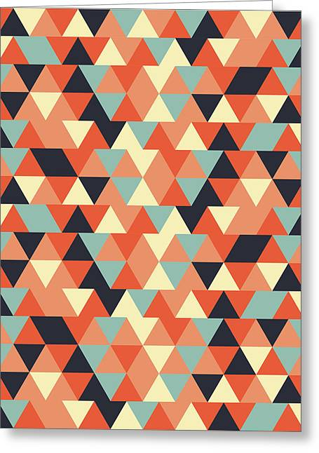 Triangular Geometric Pattern - Warm Colors 09 Greeting Card