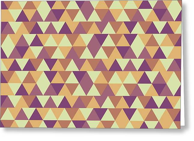 Triangular Geometric Pattern - Warm Colors 10 Greeting Card