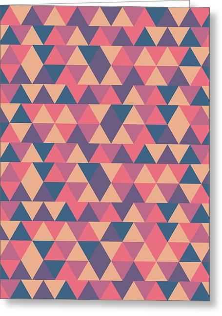 Triangular Geometric Pattern - Warm Colors 11 Greeting Card