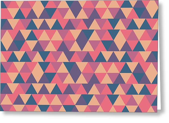 Triangular Geometric Pattern - Warm Colors 11 Greeting Card