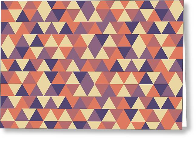 Triangular Geometric Pattern - Warm Colors 12 Greeting Card