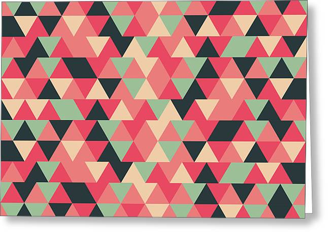 Triangular Geometric Pattern - Warm Colors 13 Greeting Card