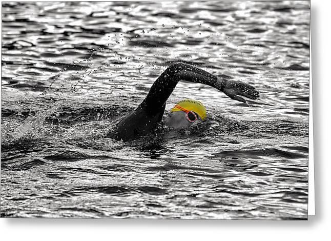 Triathlon Swimmer Greeting Card by Ari Salmela