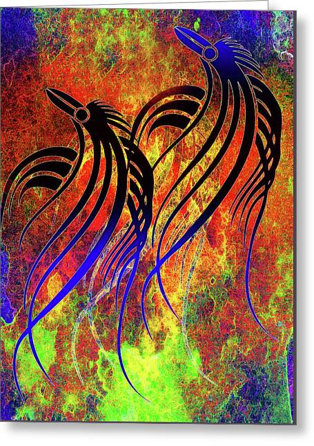 Tribal Birds Contemporary Whimsy Greeting Card