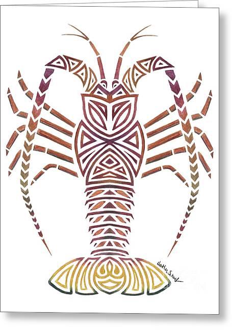Tribal Caribbean Lobster Greeting Card