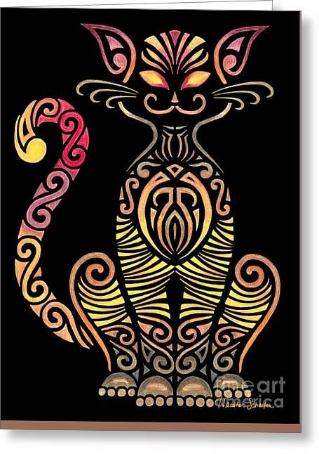 Tribal Cat Greeting Card