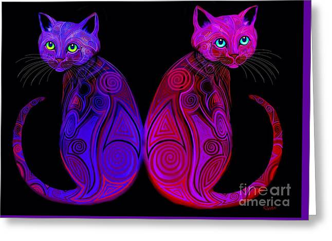 Greeting Card featuring the digital art Tribal Cats by Nick Gustafson