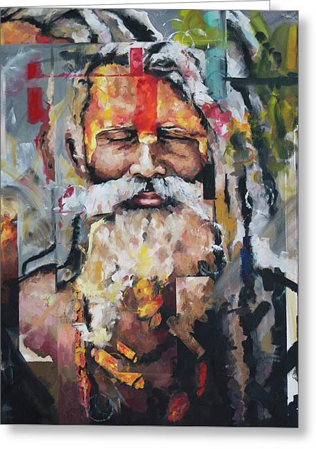 Tribal Chief Sadhu Greeting Card by Richard Day