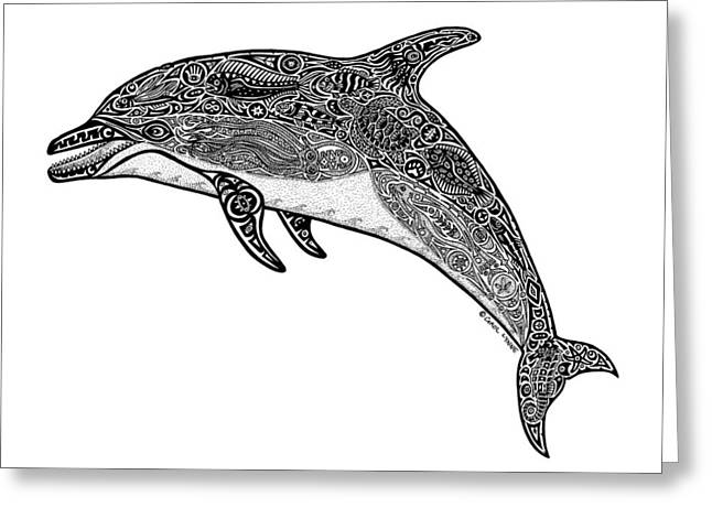 Diving Drawings Greeting Cards - Tribal Dolphin Greeting Card by Carol Lynne