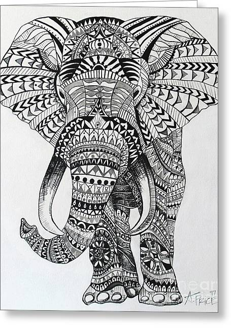 Greeting Card featuring the painting Tribal Elephant by Ashley Price