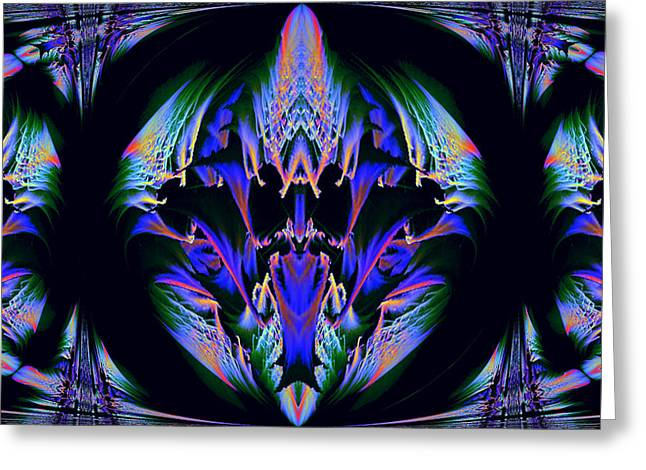 Tribal Fractal Greeting Card by Evelyn Patrick