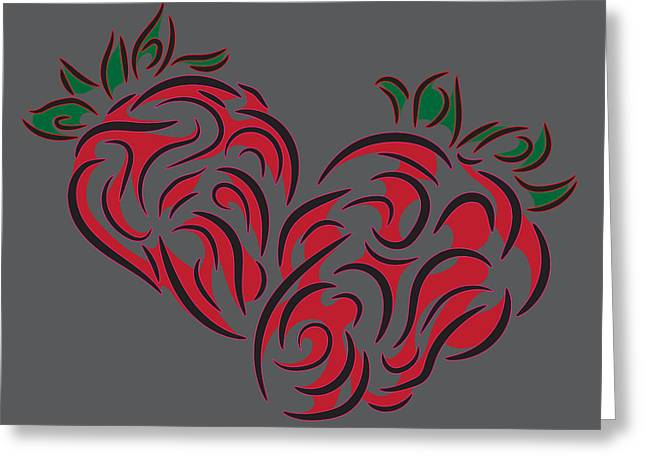 Tribal Fruit, Strawberry Greeting Card