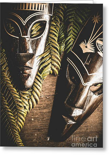 Tribal Masks With Ferns On Wooden Table Greeting Card by Jorgo Photography - Wall Art Gallery