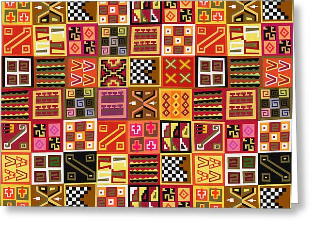 Tribal Quilt Greeting Card by Bedros Awak