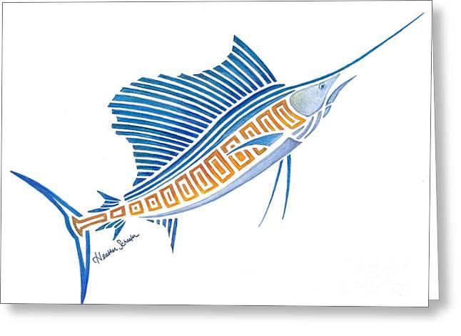 Tribal Sailfish Greeting Card