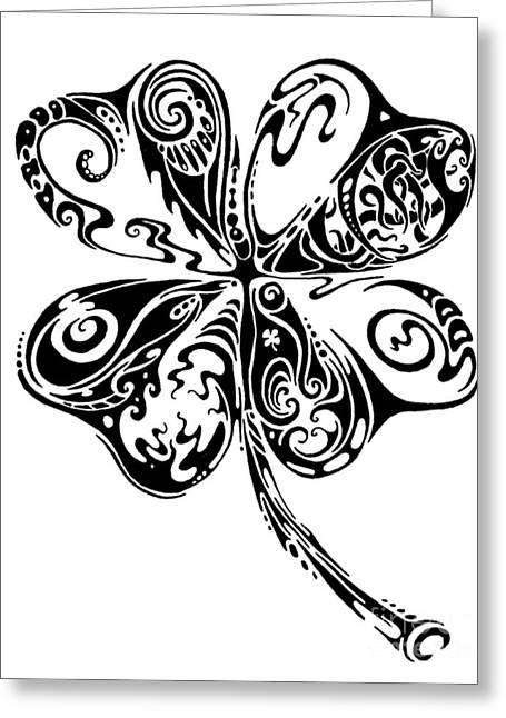Tribal Shamrock Greeting Card by John Benko