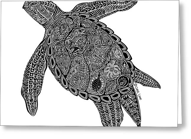 Tropical Beach Drawings Greeting Cards - Tribal Turtle I Greeting Card by Carol Lynne
