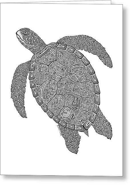 Tropical Beach Drawings Greeting Cards - Tribal Turtle II Greeting Card by Carol Lynne