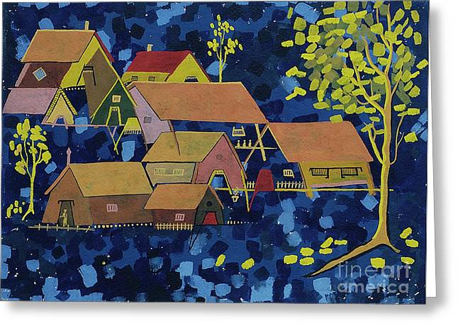 Greeting Card featuring the painting Tribal Village by Vilas Malankar