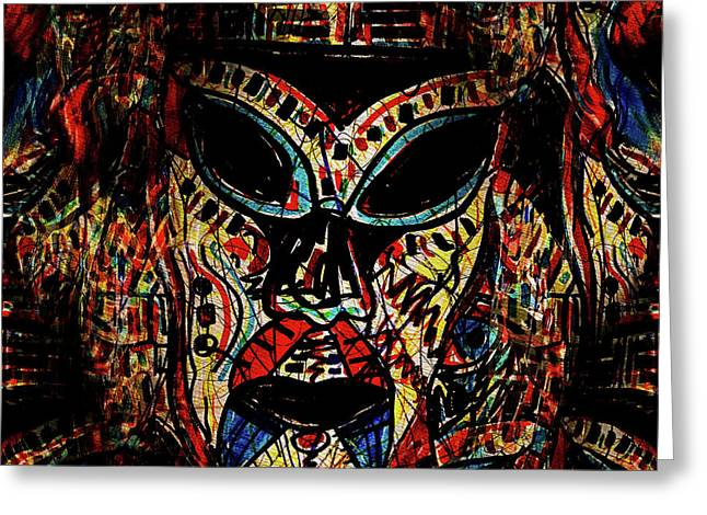 Tribal Warrior Mask Greeting Card