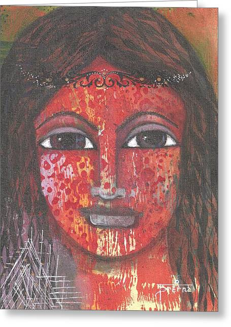 Greeting Card featuring the mixed media Tribal Woman by Prerna Poojara