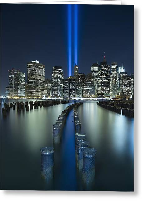 9-11 Greeting Cards - Tribute In Light Greeting Card by Evelina Kremsdorf