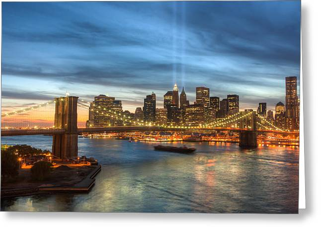 September 11 Greeting Cards - Tribute in Light I Greeting Card by Clarence Holmes