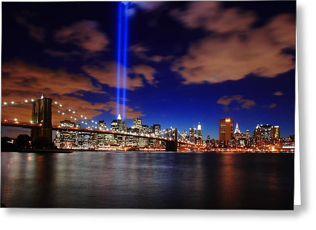 Eleven Greeting Cards - Tribute In Light Greeting Card by Rick Berk