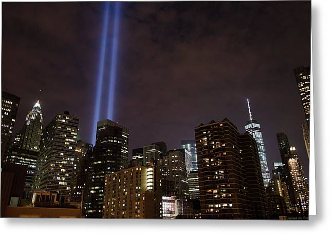 Twin Beam Tribute To The Towers Greeting Card by Jeff at JSJ Photography